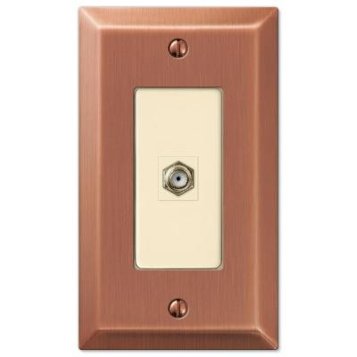 Metallic 1 Gang Coax Steel Wall Plate - Antique Copper