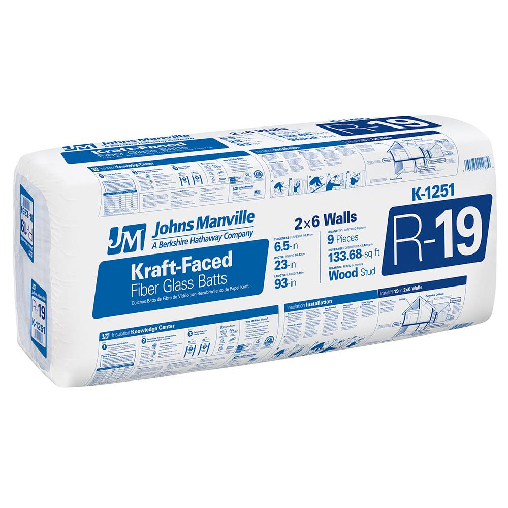 Johns Manville R 19 Kraft Faced Fibergl Insulation Batt 23 In X 93