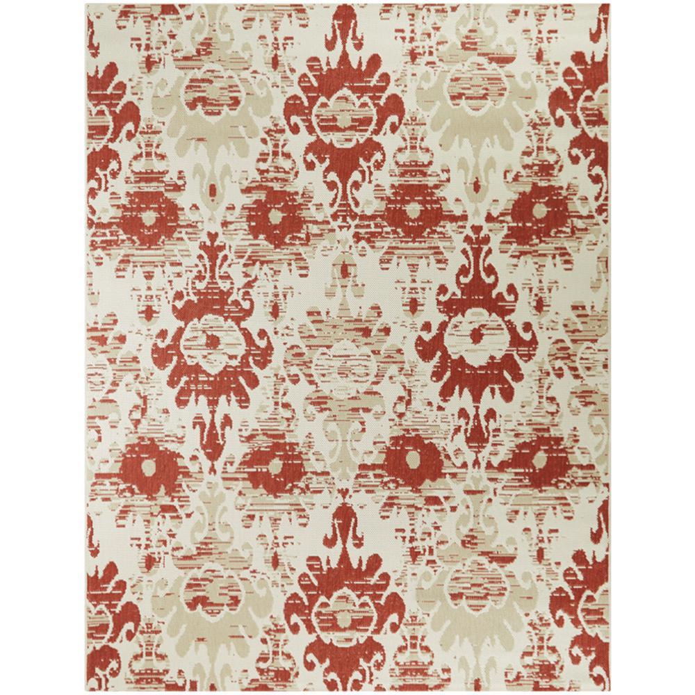 Ikat Red/Cream 5 ft. x 7 ft. Distressed Indoor/Outdoor Area Rug
