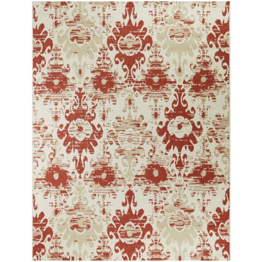 Ikat Red/Cream 8 ft. x 10 ft. Distressed Indoor/Outdoor Area Rug