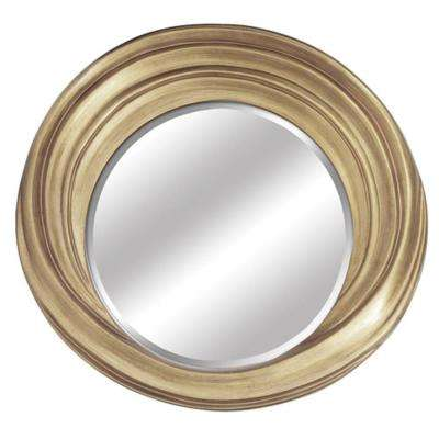 27 in. x 29 in. Oval Gold Wood Frame Wall Mirror