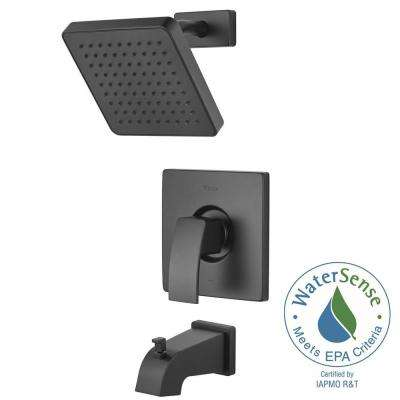 Kenzo 1-Handle Tub and Shower Faucet Trim Kit in Black (Valve Not Included)