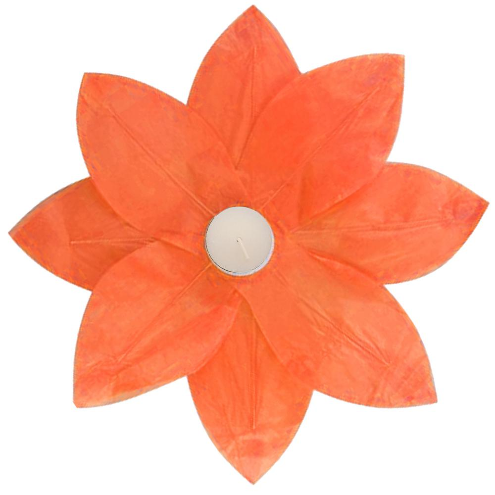 Lumabase Orange Floating Lotus Lanterns (6-Count)