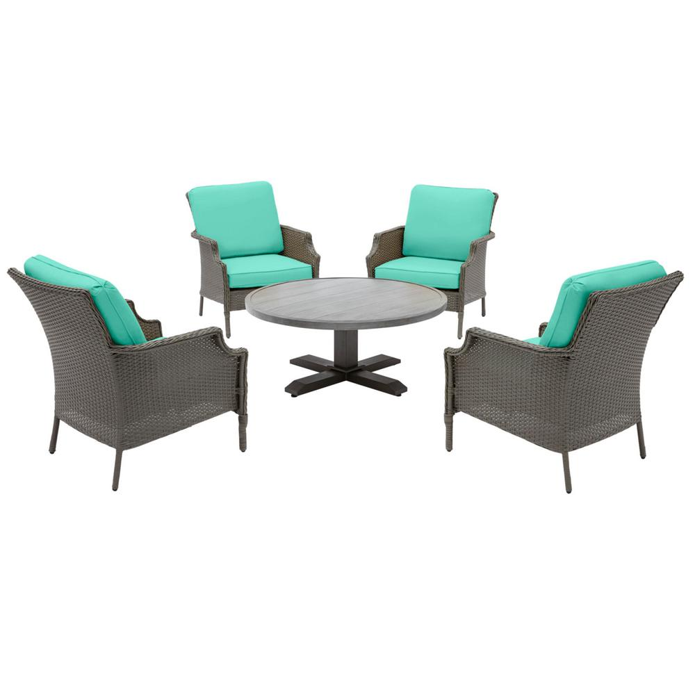 Hampton Bay Grayson Ash Gray 5-Piece Wicker Outdoor Patio Conversation Seating Set with CushionGuard Seaglass Turquoise Cushions was $599.0 now $379.0 (37.0% off)