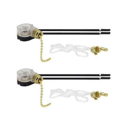 Polished Brass Ceiling Fan Light Switch with Pull Chain (2-Pack)
