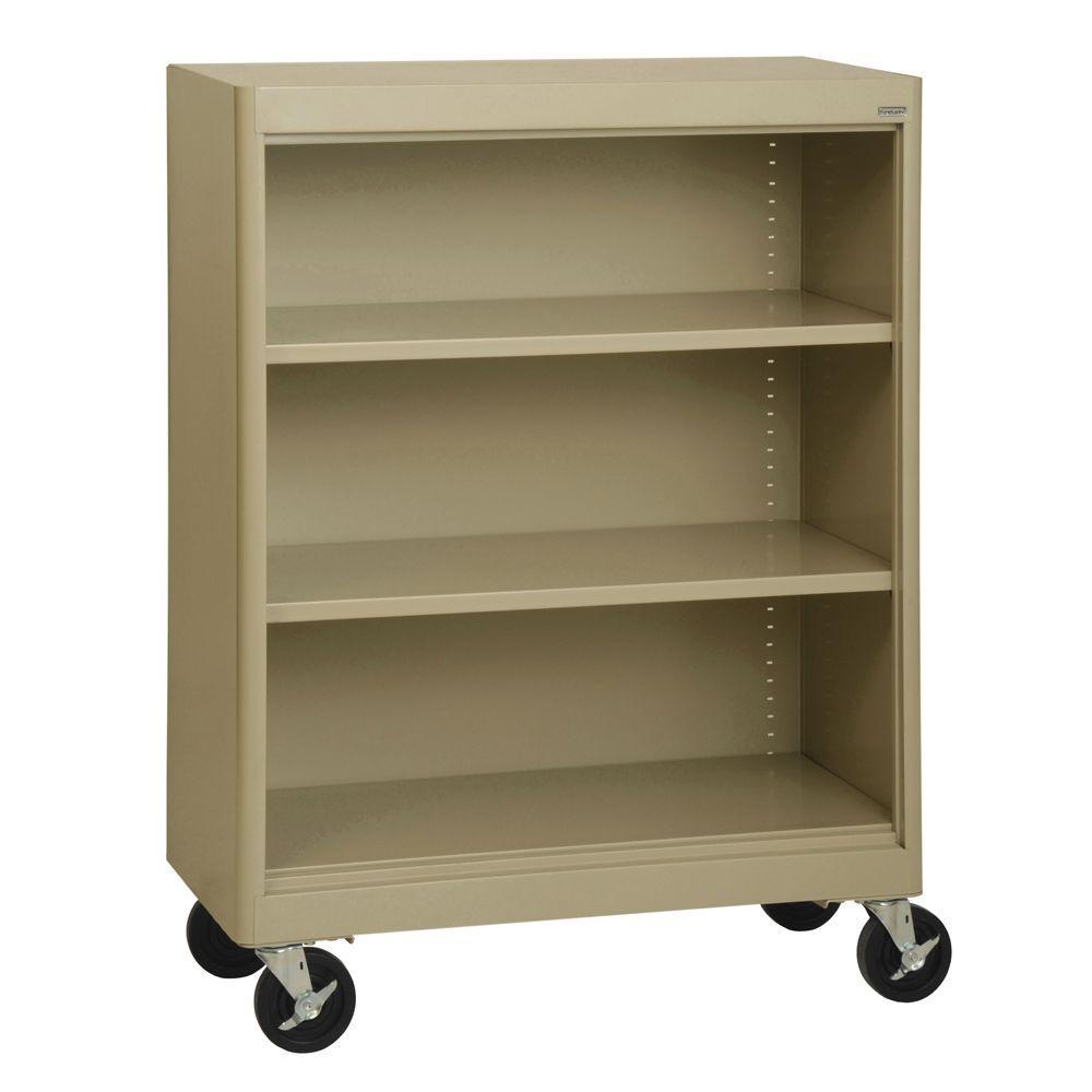 2-Shelf Radius Edge Tropic Sand Mobile Steel Bookshelf