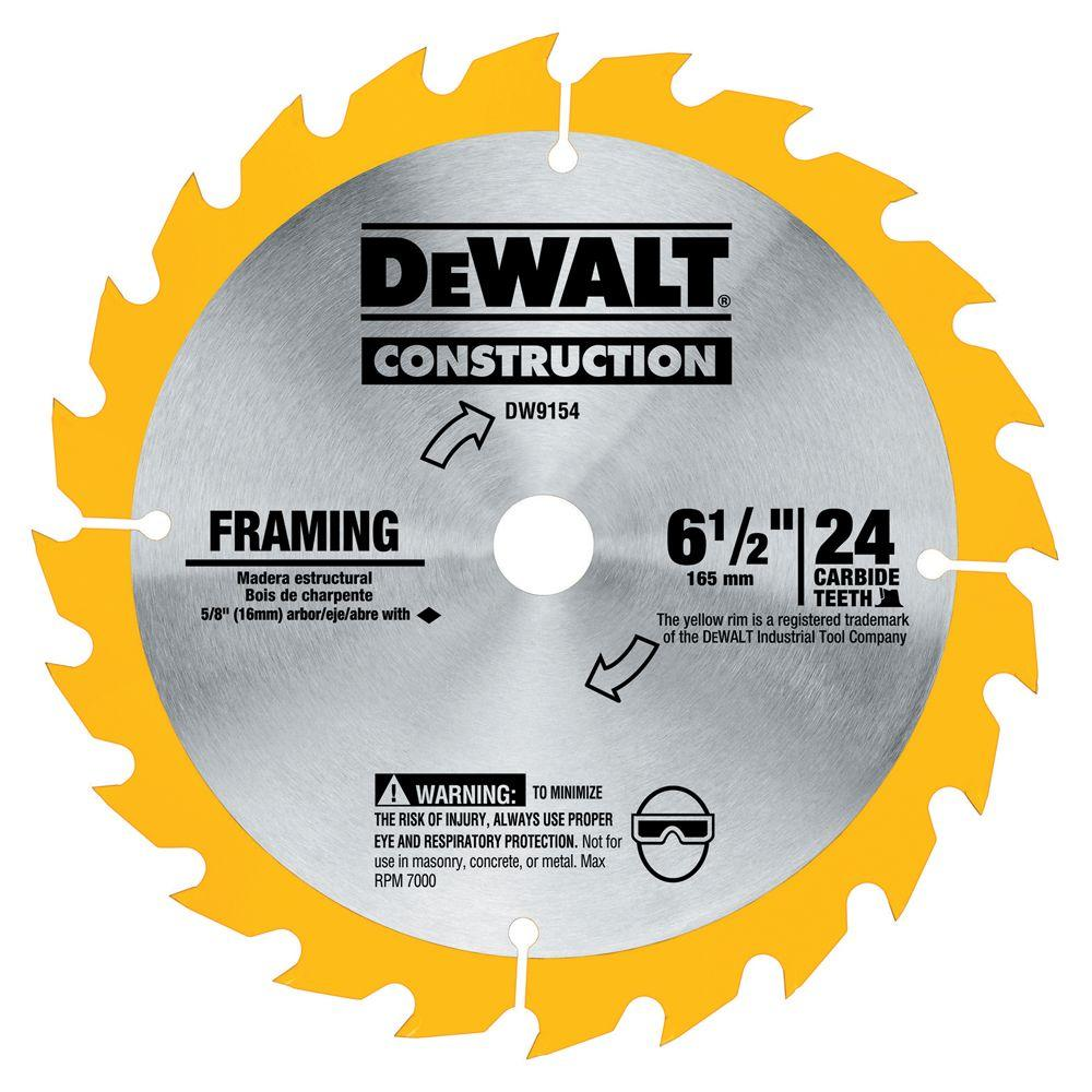 DEWALT 6-1/2 in. 24-Tooth Carbide Blade for Framing-DW9154 - The ...