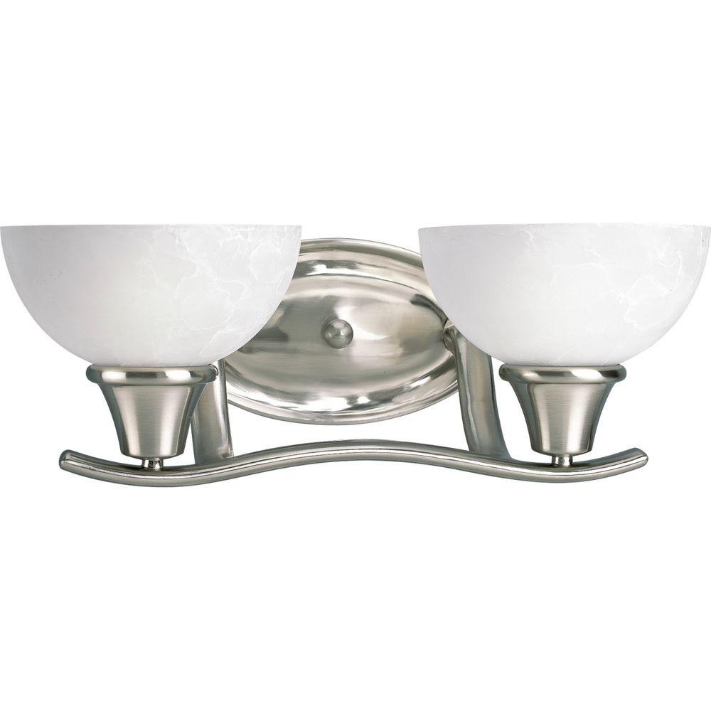 Progress Lighting Sentura Collection 2-Light Brushed Nickel Vanity Fixture