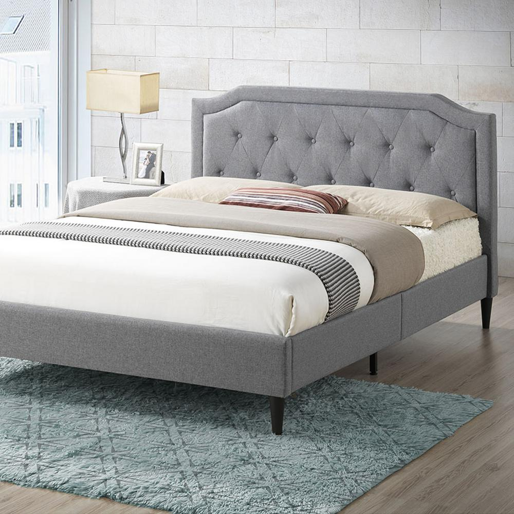 20e270c51a89f Poly and Bark Harrington Gray Tufted Queen Size Bed-HD-391-GRY - The ...