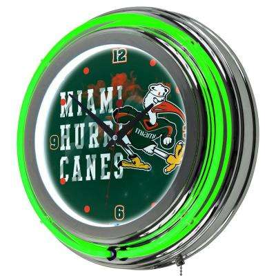 University of Miami 14 in. Round Smoke Neon Wall Clock
