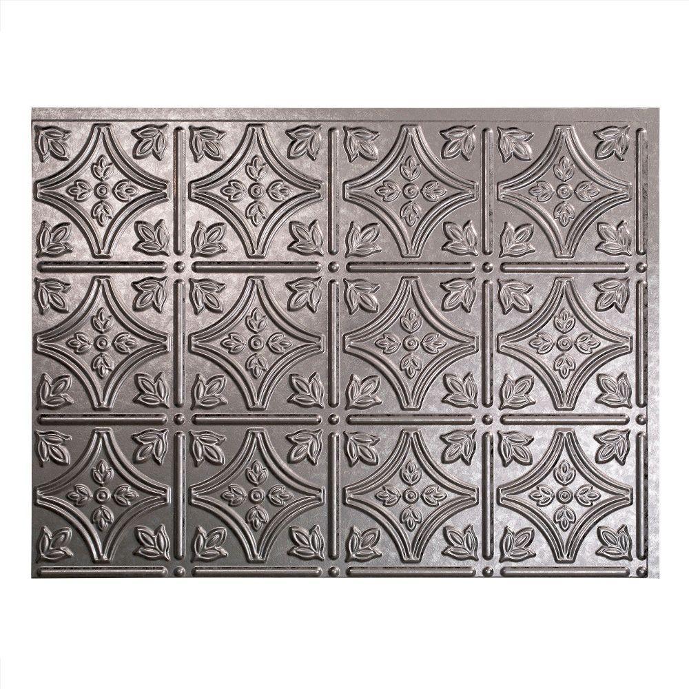 Traditional 1 18 in. x 24 in. Galvanized Steel Vinyl Decorative Wall Tile Backsplash 18 sq. ft. Kit
