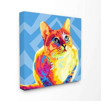 "24 in. x 24 in. ""Vibrant Abstract Posterized Rainbow Cat with Blue"" by Artist Main Line Art and Design Canvas Wall Art"
