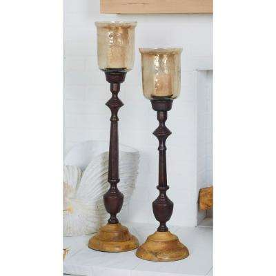 Brown Wood and Glass Floor Candle Holder