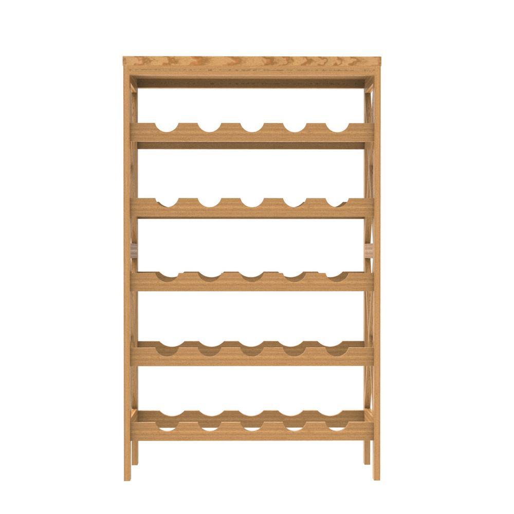 Lavish Home 25 Bottle Classic Rustic Wood Wine Rack W020076 The