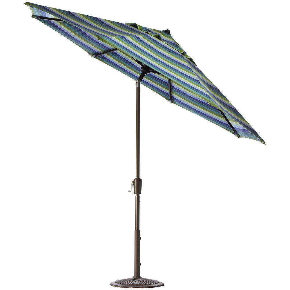 Home Decorators Collection 11 ft. Auto-Tilt Patio Umbrella in Seaside Seville Sunbrella with Bronze Frame