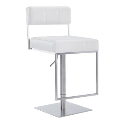 Blossom Contemporary Adjustable 35-44 in. Swivel Barstool in Brushed Stainless Steel and White Faux Leather