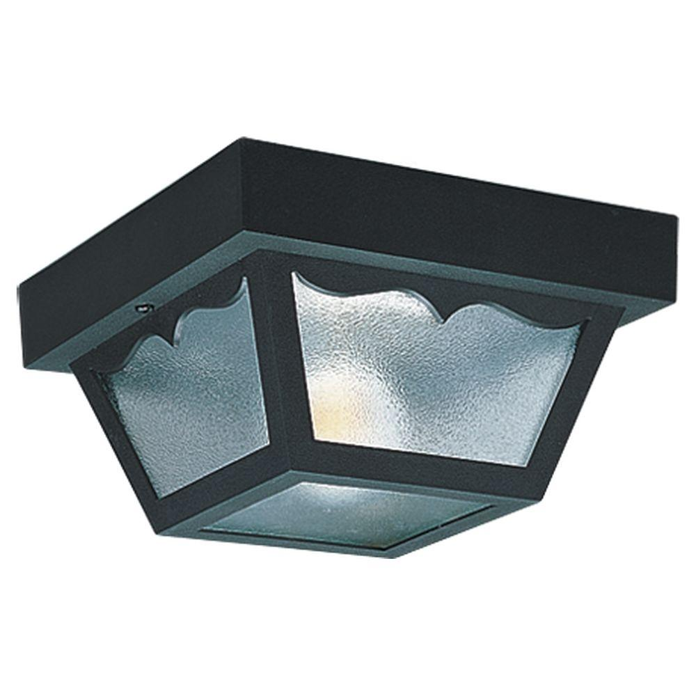 Sea Gull Lighting Outdoor Ceiling 1 Light 8 25 In W Black Plastic Square Flush Mount Ceiling Fixture With Clear Textured Glass Shade 7567 32 The Home Depot