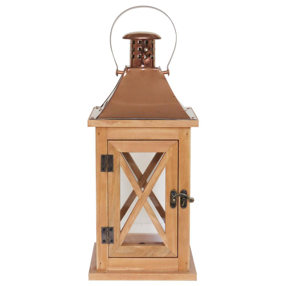 hamptonbay Hampton Bay 14 in. Wood Lantern Outdoor Patio with Metal Top
