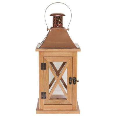 14 in. Wood Lantern with Metal Top