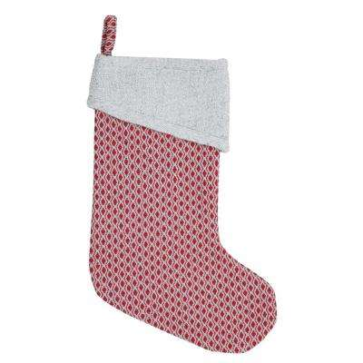 15 in. Cotton and Wool Tannen Deep Red Traditional Christmas Decor Stocking