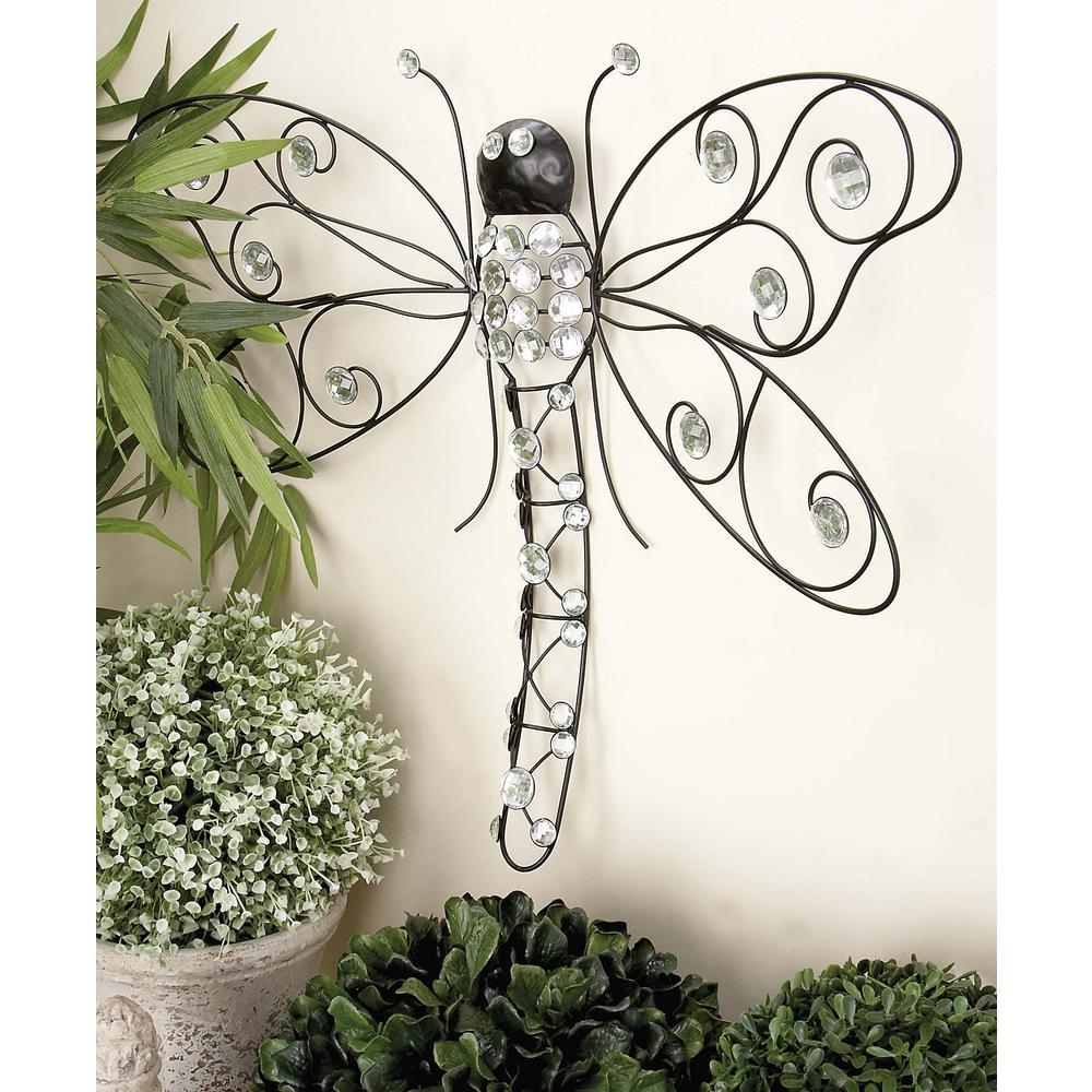 25 inch x 19 inch Glitz Inspired Black Iron Wire Dragonfly Wall Decor by