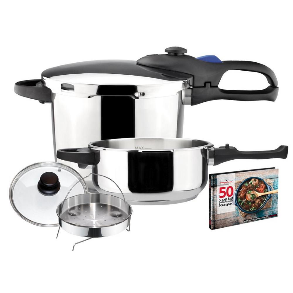 Favorit 4.2 + 6.3 Qt. Stainless Steel Pressure Cooker Set