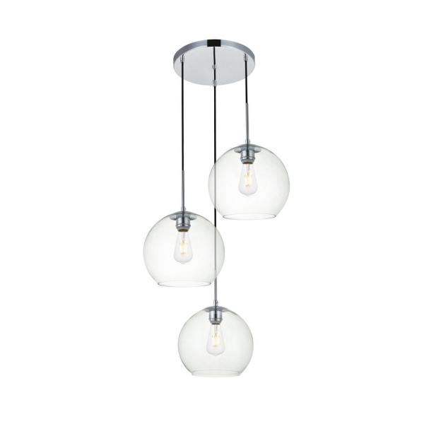Timeless Home Blake 3-Light Chrome Pendant with Clear Glass Shade