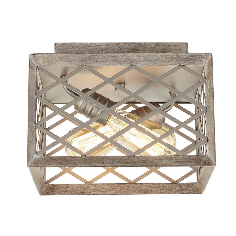2-Light Gilded Pewter Flushmount