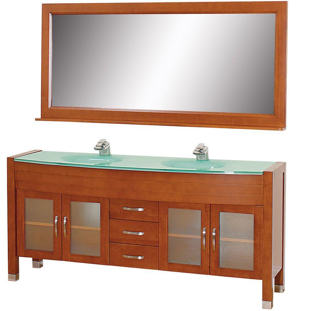 Daytona 71 in. Vanity in Cherry with Double Basin Glass Vanity Top in Aqua and Mirror