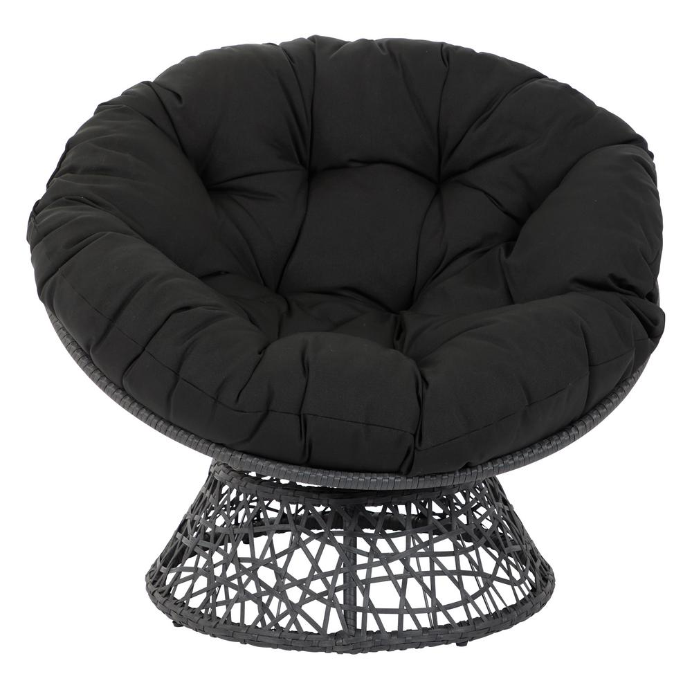 OSP Designs Papasan Beige Chair with Black cushion and Black Frame