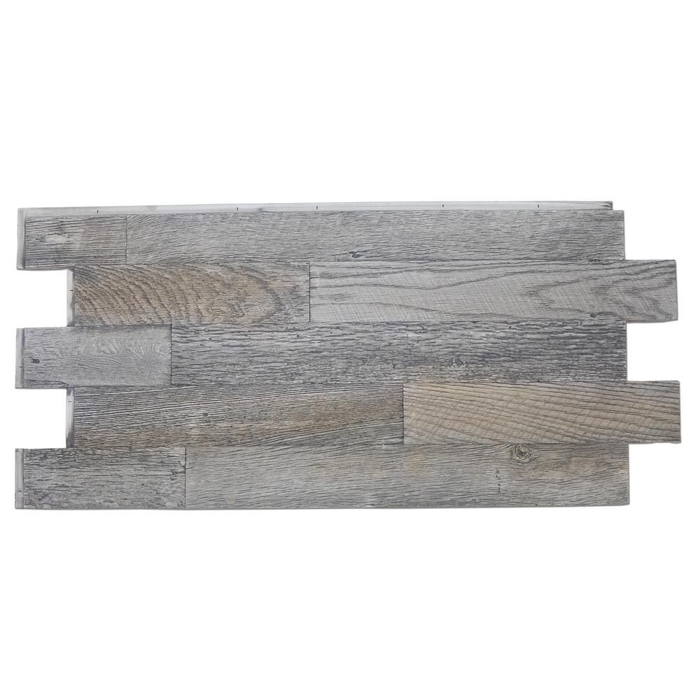 Superior Building Supplies Faux Barnwood Panel 1-1/4 in. x 52-1/4 in. x 23 in. Weathered Barn Polyurethane Interlocking Panel Superior's 52 in. x 24 in. Faux Barnwood Panel (Weathered Barn) is a perfect fit. Install with screws and adhesive, they are lightweight because they are made of high-density polyurethane, which makes them virtually maintenance free. No insect pests or rotting to worry about. Provides years of lasting beauty because they are UV protected.