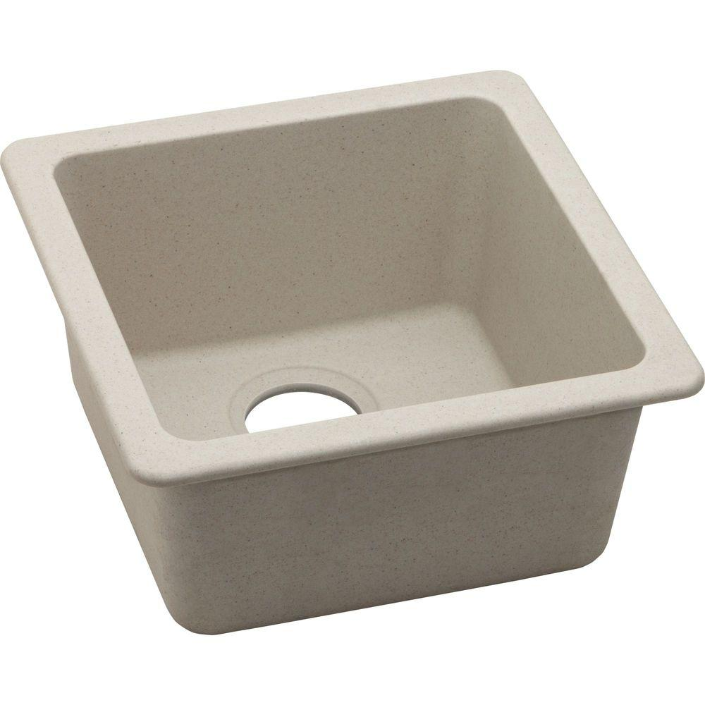 Elkay quartz classic dual mount composite in single bowl kitchen sink in bisque - Bq kitchen sinks ...