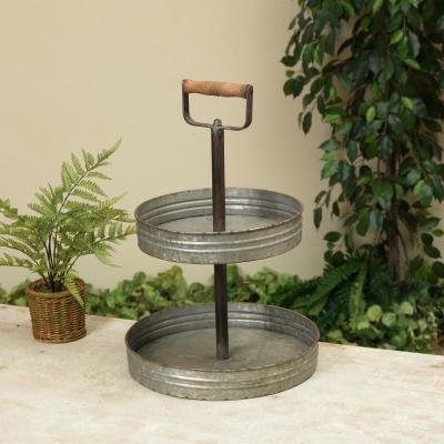Tiered Grey Metal Tray