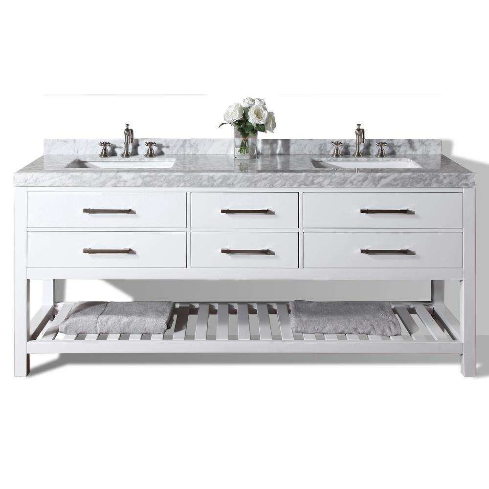 Elizabeth 72 in. W x 22 in. D Vanity in White with Marble Vanity Top in Carrera White with White Basins