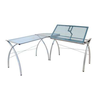 Futura LS Silver/Blue Metal and Glass Craft Corner Work Table with Angle Adjustable Top
