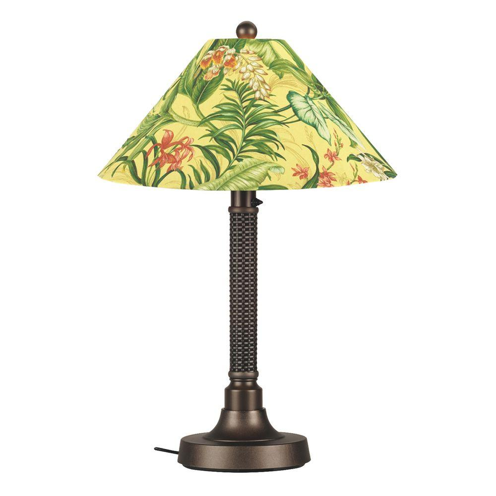 Patio Living Concepts Bahama Weave 34 in. Outdoor Dark Mahogany Table Lamp with Soleil Shade