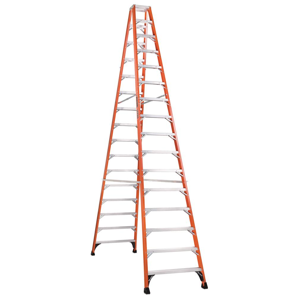 16 ft. Fiberglass Twin Step Ladder with 375 lbs. Load Capacity