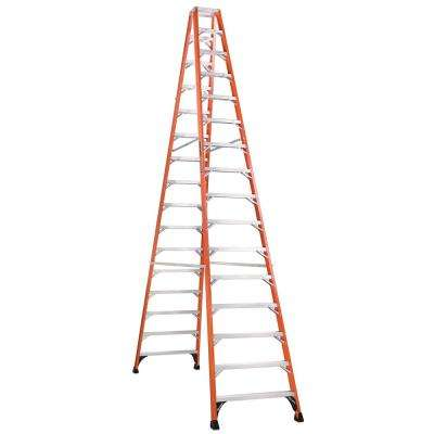 16 ft. Fiberglass Twin Step Ladder with 375 lbs. Load Capacity Type IAA Duty Rating