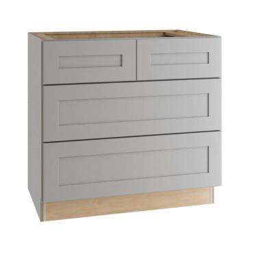 Tremont Assembled 36x34.5x24 in. Plywood Shaker 3 Drawer Base Kitchen Cabinet Soft Close Drawers in Painted Pearl Gray