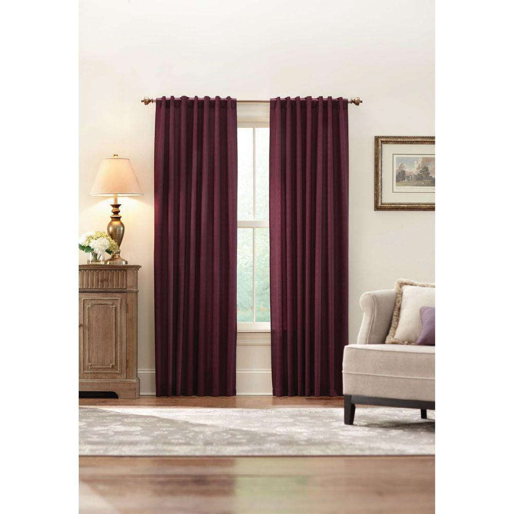 Home Decorators Collection Semi-Opaque Plum Monaco Thermal Foam Backed Lined Back Tab Curtain - 52 in. W x 84 in. L