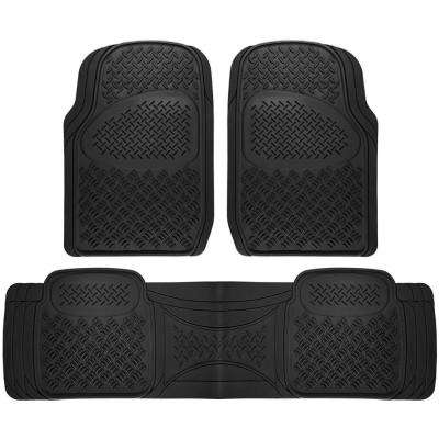 Universal Fit Black 3-Piece Heavy Rubber Floor Mat Set Diamond Style