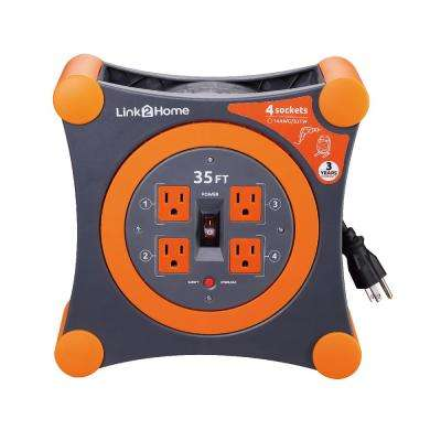 35 ft. 14/3 Extension Cord Storage Reel with 4 Grounded Outlets and Surge Protector