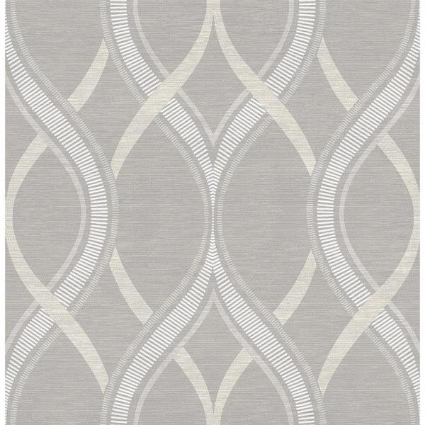 A-Street Frequency Grey Ogee Wallpaper Sample 2625-21850SAM