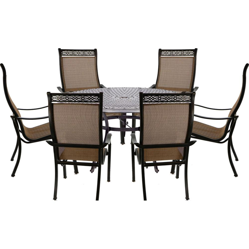 Hanover Manor 7 Piece Outdoor Dining Set With 6 Sling Chairs And Cast Top