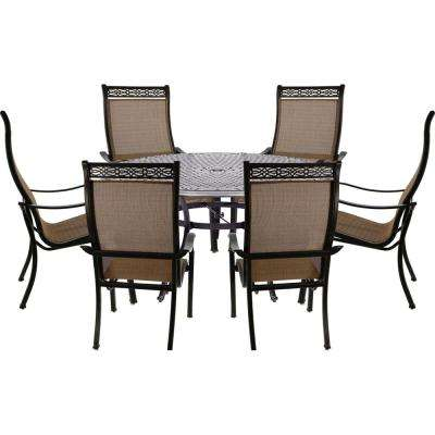 Manor 7 Piece Outdoor Dining Set With 6 Sling Chairs And Cast Top Table