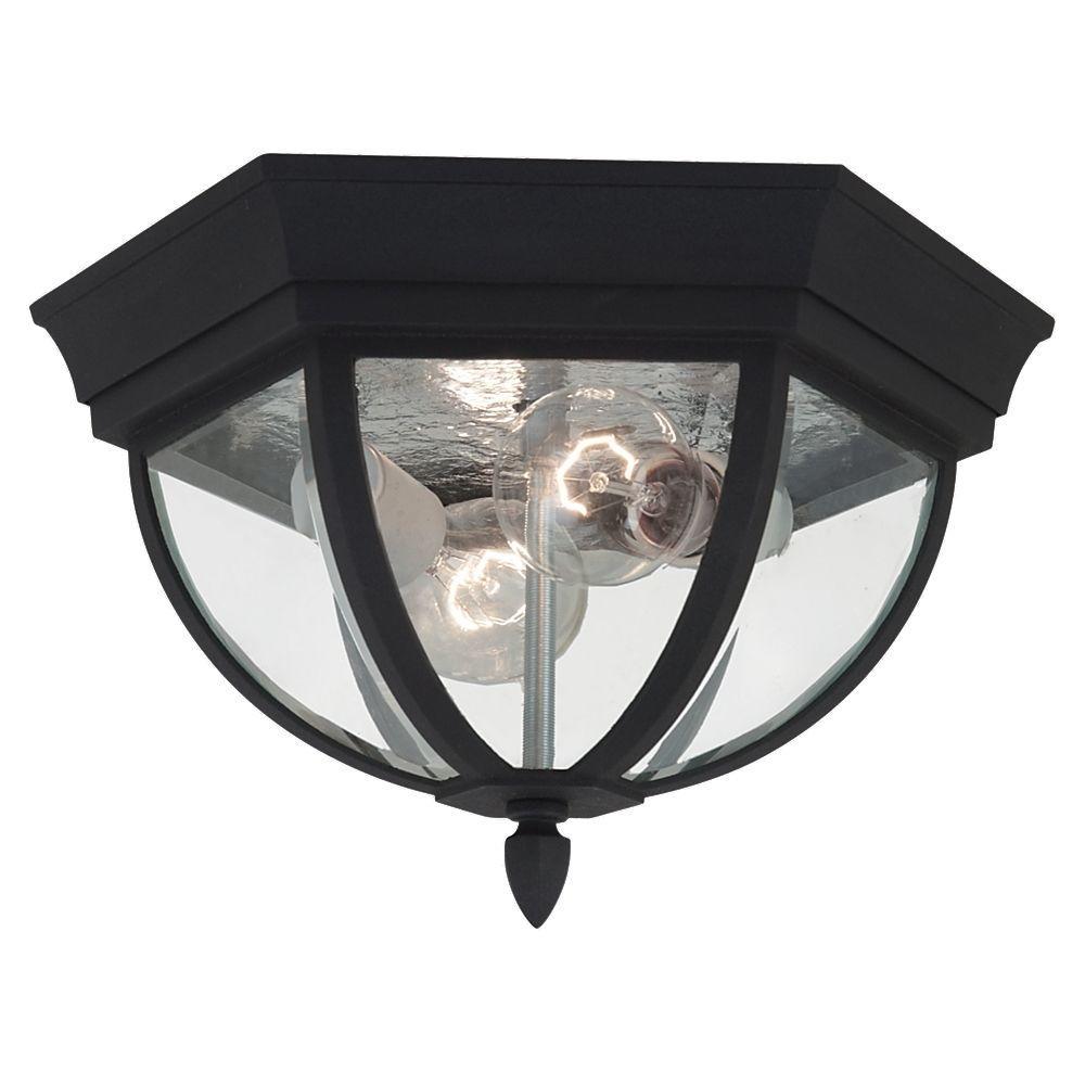 Wynfield 2-Light Black Outdoor Ceiling Fixture