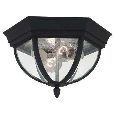 Bakersville 2-Light Black Outdoor Ceiling Fixture