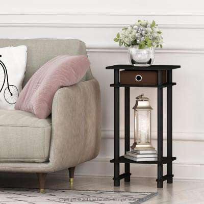 Turn-N-Tube Espresso and Brown Tall End Table with Bin