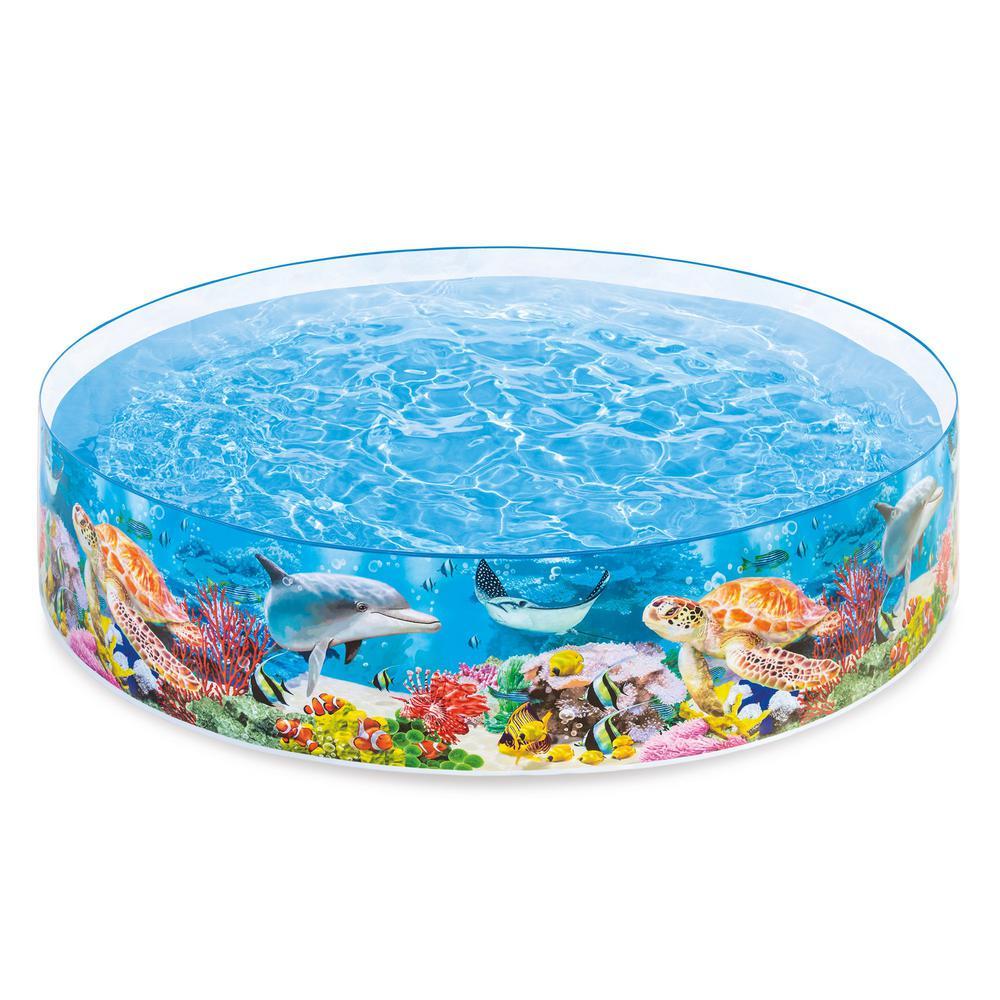 Intex Deep Sea Blue 8 ft. Round 1.5 ft. Deep Kids Instant Kiddie ...