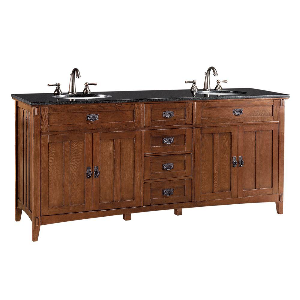 Home Decorators Collection Artisan 72 in. W x 20-1/2 in. D Bath Vanity in Light Oak with Granite Vanity Top in Black